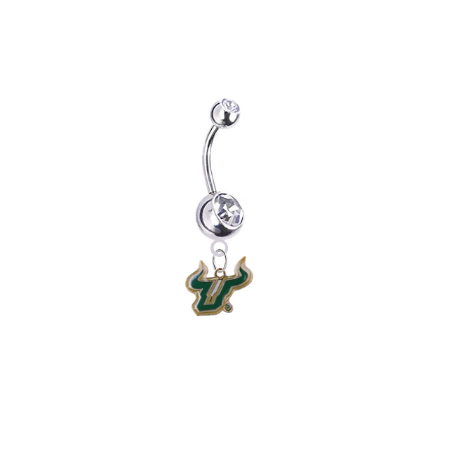 South Florida Bulls Silver Clear Swarovski Belly Button Navel Ring - Customize Gem Colors