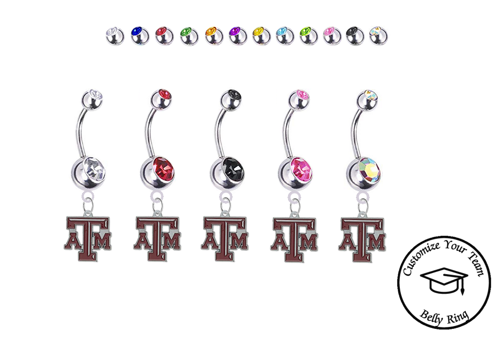 Texas A&M Aggies Silver Swarovski Belly Button Navel Ring - Customize Gem Colors