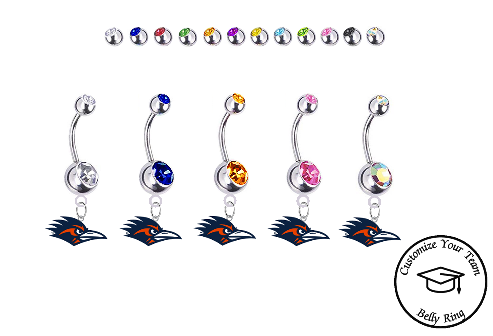 Texas San Antonio Roadrunners Silver Swarovski Belly Button Navel Ring - Customize Gem Colors