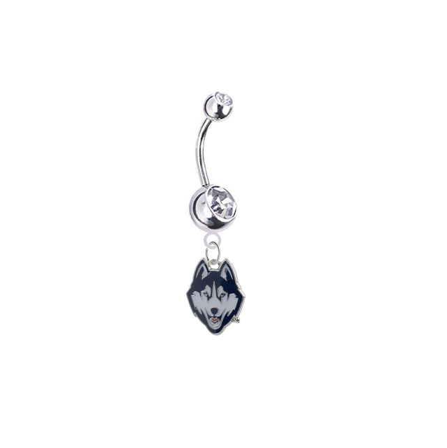 UConn Huskies Silver Clear Swarovski Belly Button Navel Ring - Customize Gem Colors