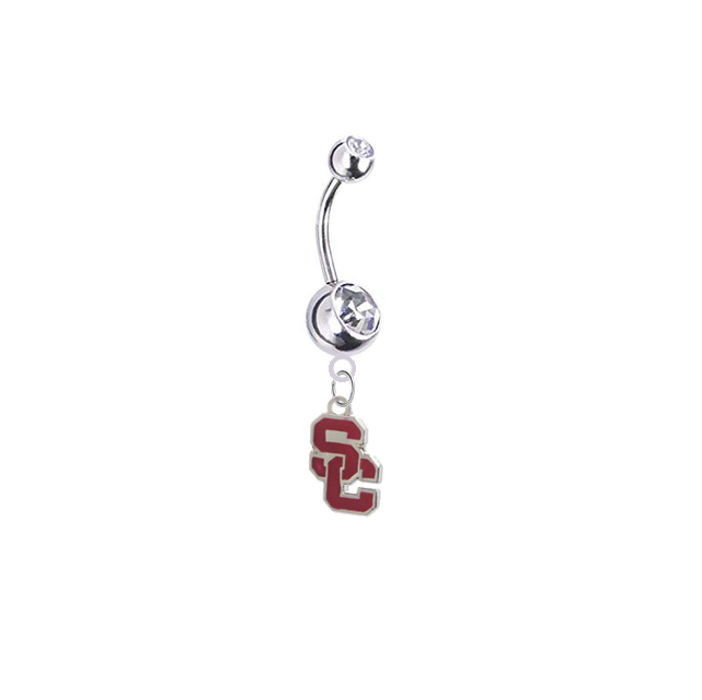USC Trojans Style 2 Silver Clear Swarovski Belly Button Navel Ring - Customize Gem Colors