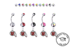 Utah Utes Silver Swarovski Belly Button Navel Ring - Customize Gem Colors