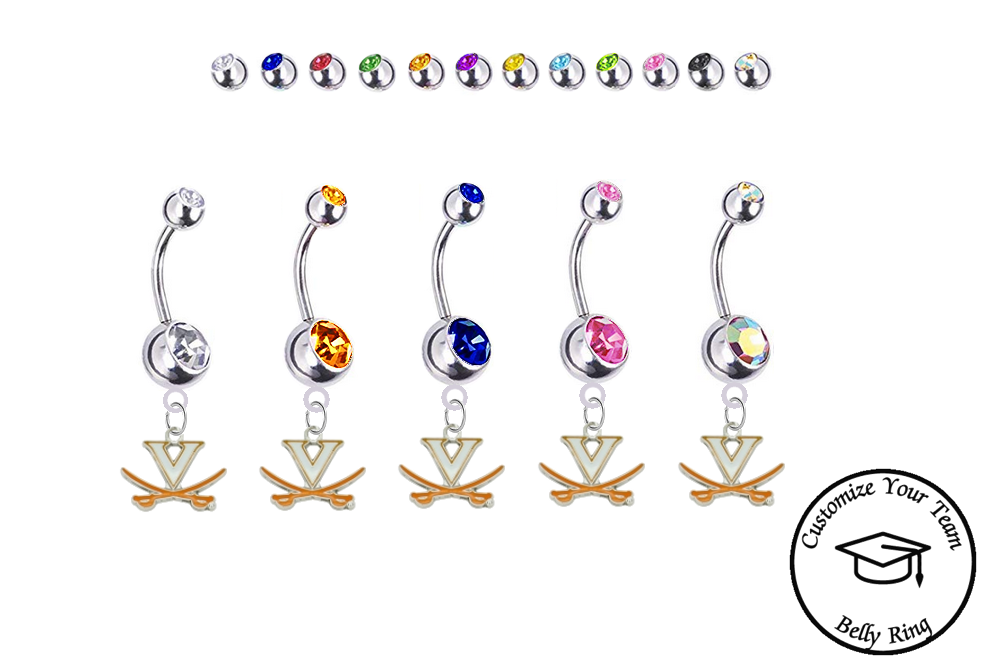 Virginia Cavaliers Silver Swarovski Belly Button Navel Ring - Customize Gem Colors