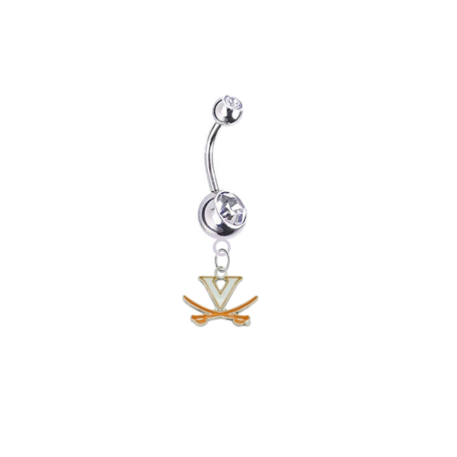 Virginia Cavaliers Silver Clear Swarovski Belly Button Navel Ring - Customize Gem Colors