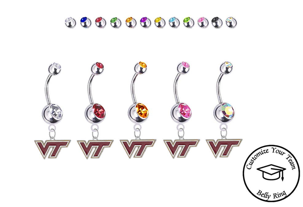 Virginia Tech Hokies Silver Swarovski Belly Button Navel Ring - Customize Gem Colors