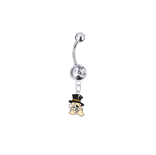 Wake Forest Demon Deacons Silver Clear Swarovski Belly Button Navel Ring - Customize Gem Colors