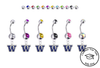 Washington Huskies Silver Swarovski Belly Button Navel Ring - Customize Gem Colors