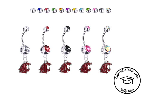 Washington State Cougars Silver Swarovski Belly Button Navel Ring - Customize Gem Colors