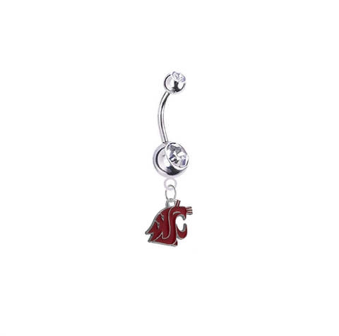 Washington State Cougars Silver Clear Swarovski Belly Button Navel Ring - Customize Gem Colors