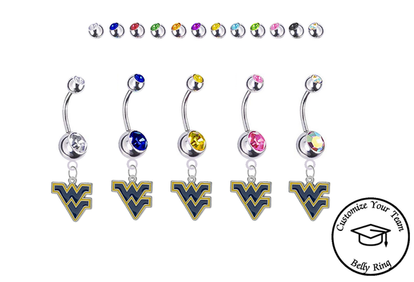 West Virginia Mountaineers Silver Swarovski Belly Button Navel Ring - Customize Gem Colors