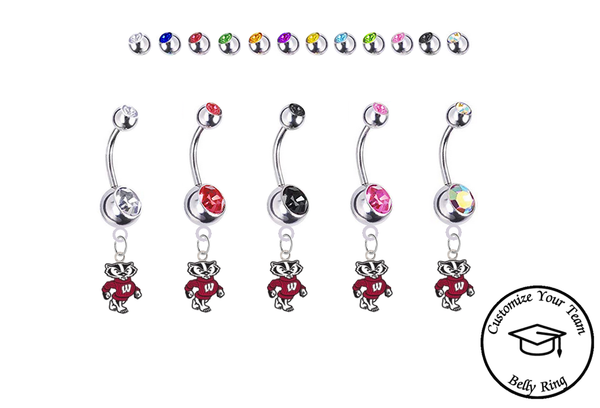 Wisconsin Badgers Mascot Silver Swarovski Belly Button Navel Ring - Customize Gem Colors