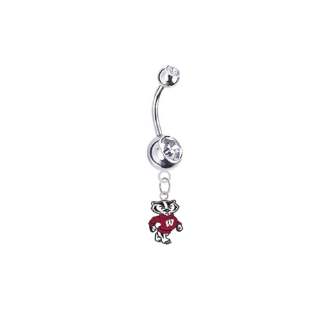 Wisconsin Badgers Mascot Silver Clear Swarovski Belly Button Navel Ring - Customize Gem Colors
