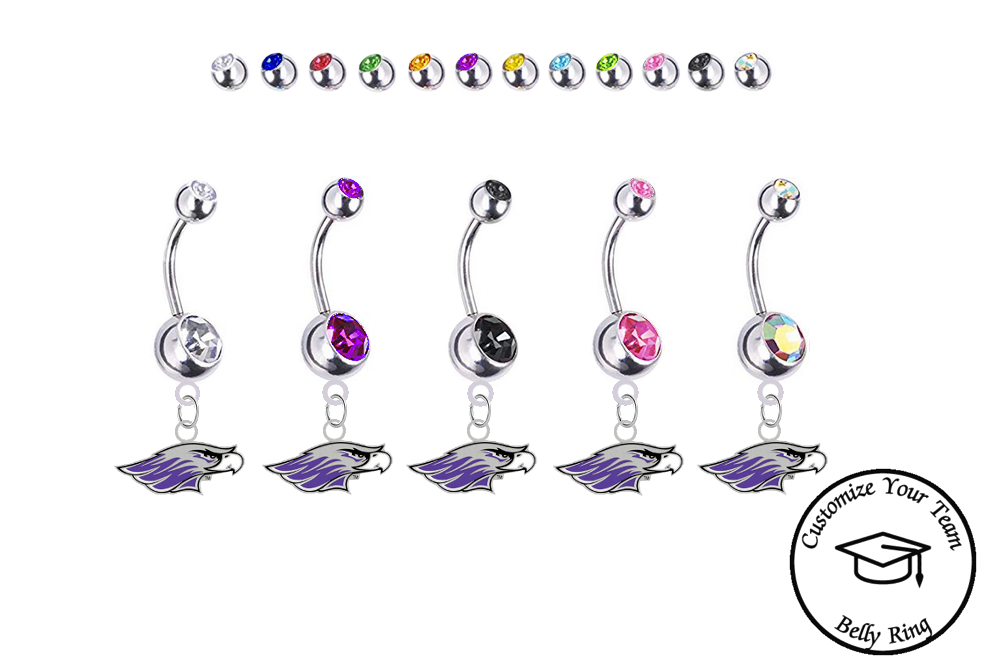 Wisconsin Whitewater Warhawks Silver Swarovski Belly Button Navel Ring - Customize Gem Colors