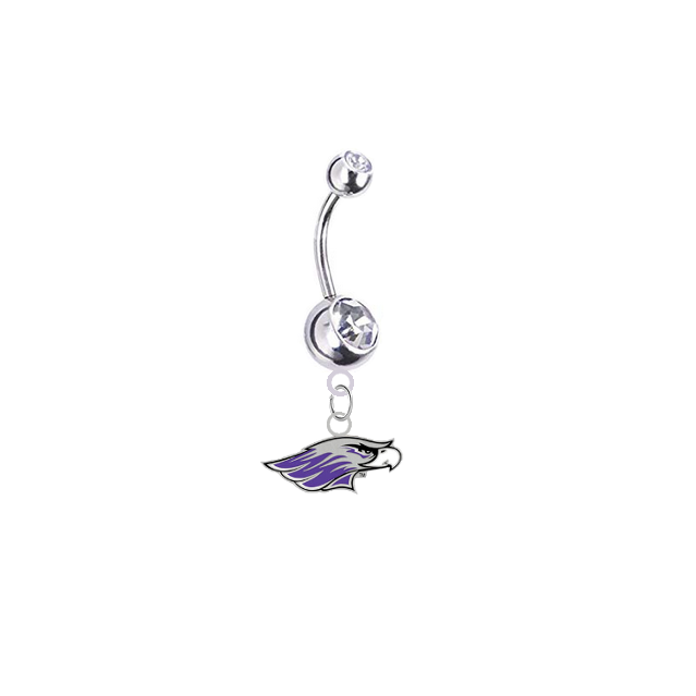 Wisconsin Whitewater Warhawks Silver Clear Swarovski Belly Button Navel Ring - Customize Gem Colors