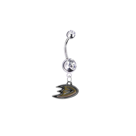 Anaheim Ducks Silver Clear Swarovski Belly Button Navel Ring - Customize Gem Colors