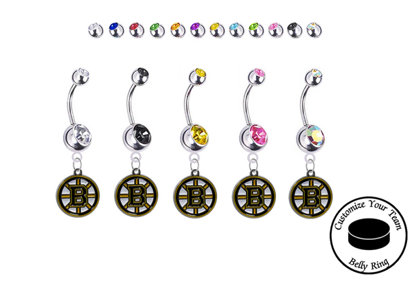 Boston Bruins Silver Swarovski Belly Button Navel Ring - Customize Gem Colors