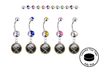 Buffalo Sabres Silver Swarovski Belly Button Navel Ring - Customize Gem Colors