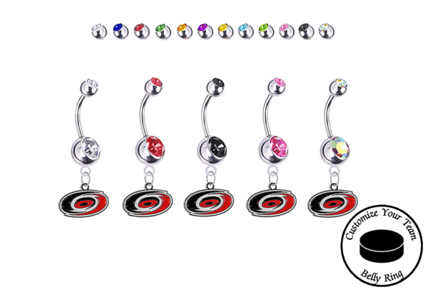 Carolina Hurricanes Silver Swarovski Belly Button Navel Ring - Customize Gem Colors
