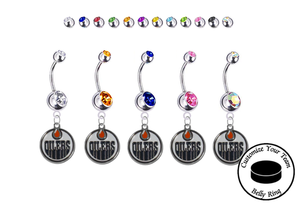 Edmonton Oilers Silver Swarovski Belly Button Navel Ring - Customize Gem Colors