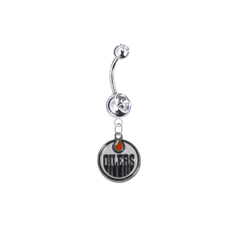 Edmonton Oilers Silver Clear Swarovski Belly Button Navel Ring - Customize Gem Colors