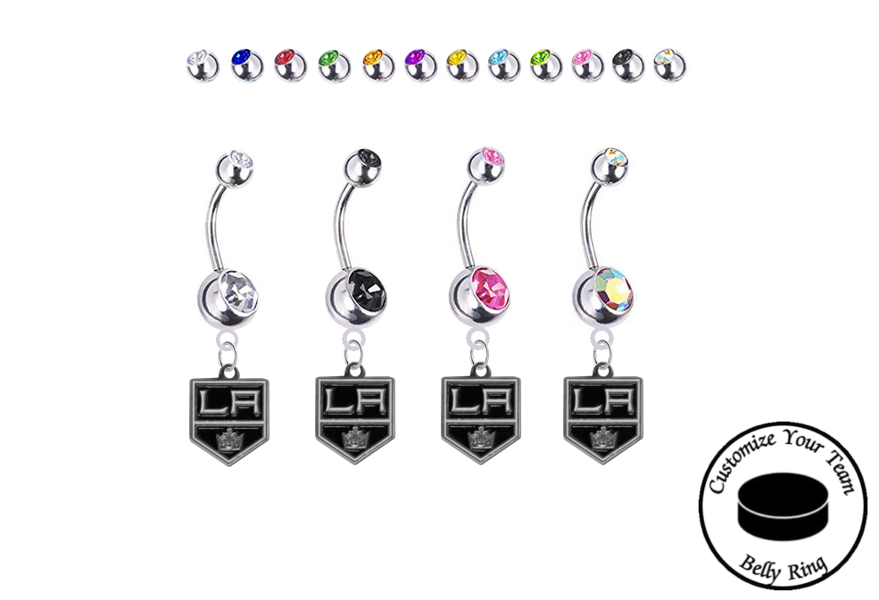 Los Angeles Kings Silver Swarovski Belly Button Navel Ring - Customize Gem Colors