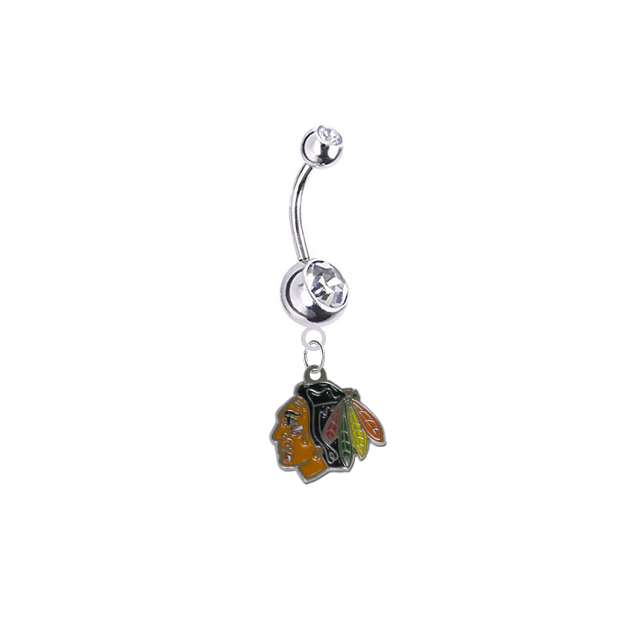 Chicago Blackhawks Silver Clear Swarovski Belly Button Navel Ring - Customize Gem Colors