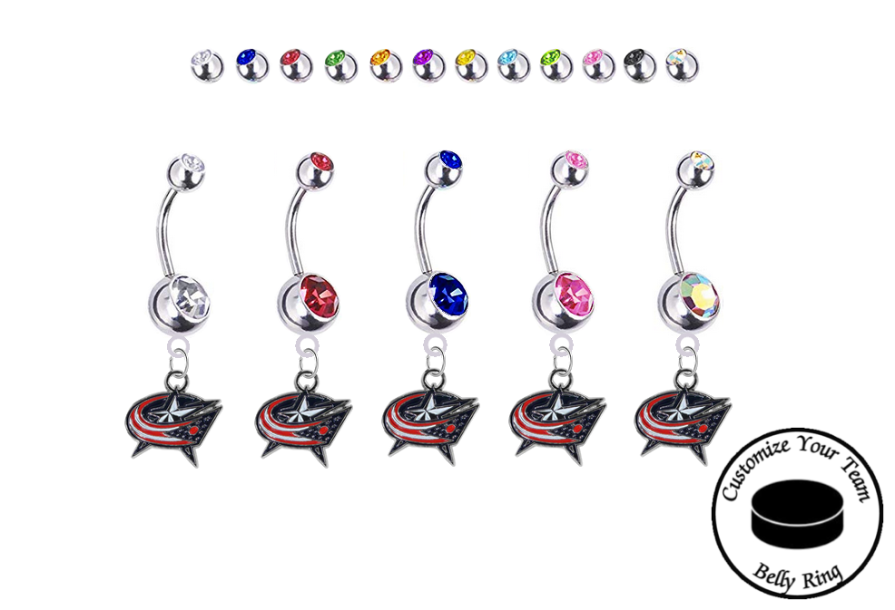 Columbus Blue Jackets Silver Swarovski Belly Button Navel Ring - Customize Gem Colors