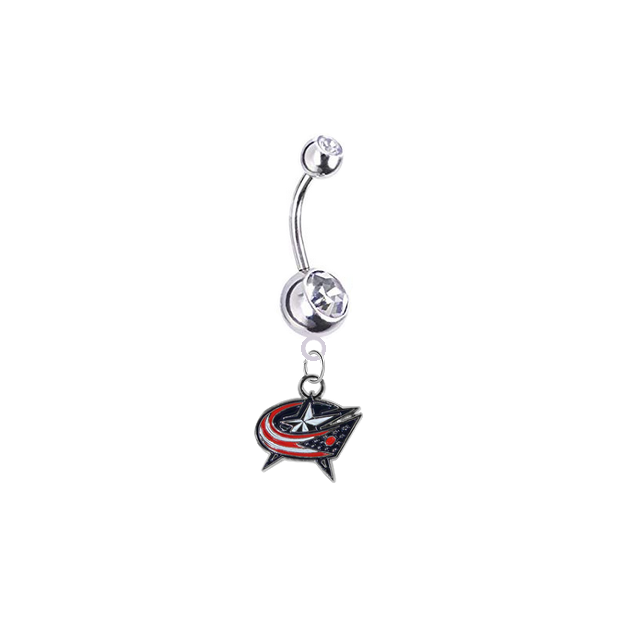 Columbus Blue Jackets Silver Clear Swarovski Belly Button Navel Ring - Customize Gem Colors