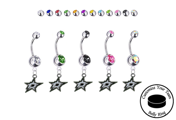 Dallas Stars Silver Swarovski Belly Button Navel Ring - Customize Gem Colors