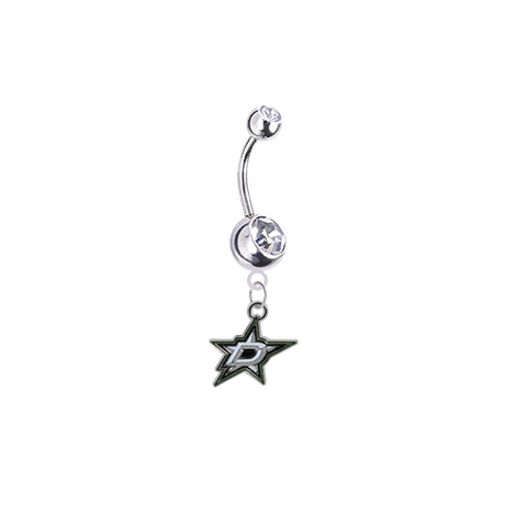 Dallas Stars Silver Clear Swarovski Belly Button Navel Ring - Customize Gem Colors