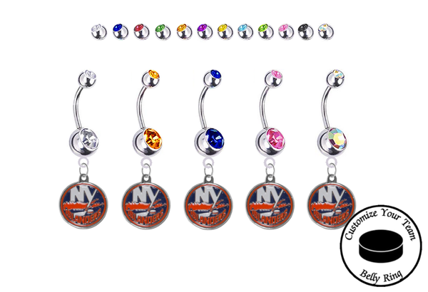 New York Islanders Silver Swarovski Belly Button Navel Ring - Customize Gem Colors