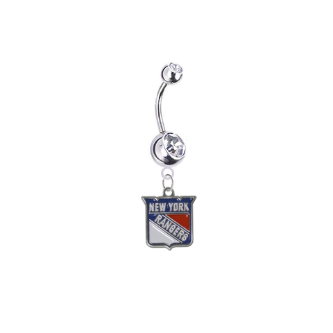 New York Rangers Silver Clear Swarovski Belly Button Navel Ring - Customize Gem Colors