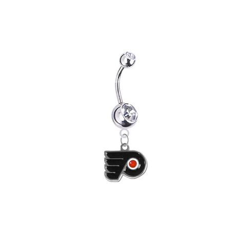 Philadelphia Flyers Silver Clear Swarovski Belly Button Navel Ring - Customize Gem Colors
