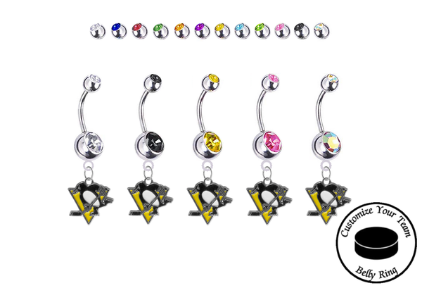 Pittsburgh Penguins Silver Swarovski Belly Button Navel Ring - Customize Gem Colors