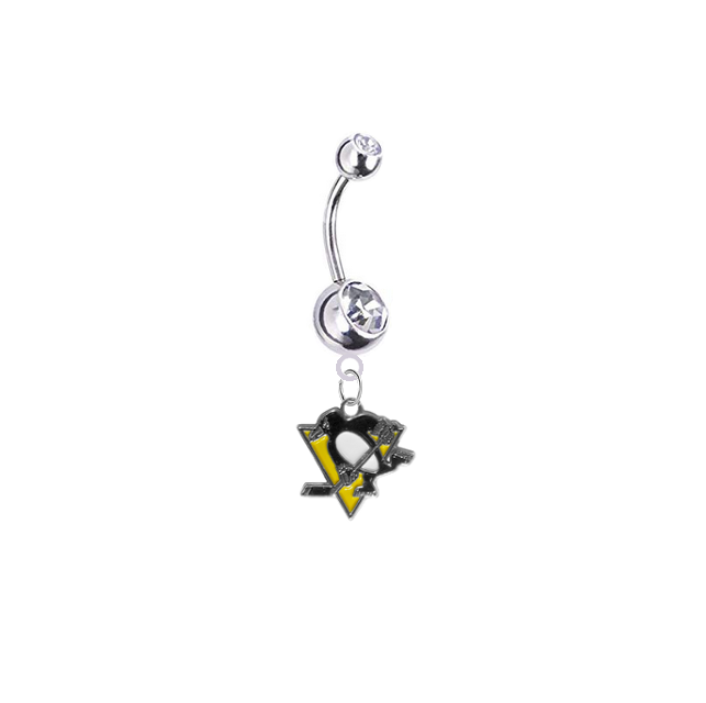 Pittsburgh Penguins Silver Clear Swarovski Belly Button Navel Ring - Customize Gem Colors