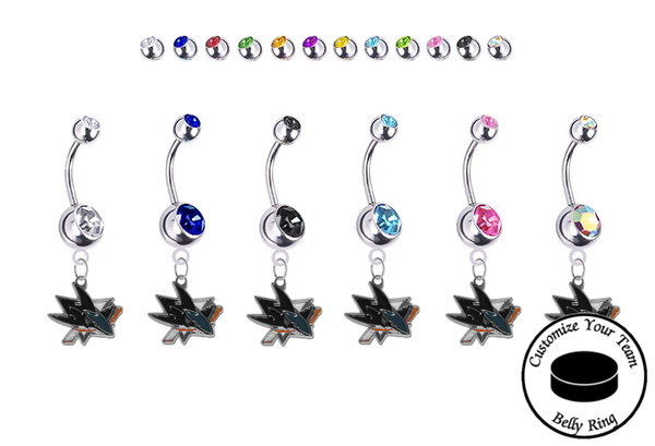 San Jose Sharks Silver Swarovski Belly Button Navel Ring - Customize Gem Colors
