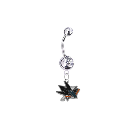 San Jose Sharks Silver Clear Swarovski Belly Button Navel Ring - Customize Gem Colors