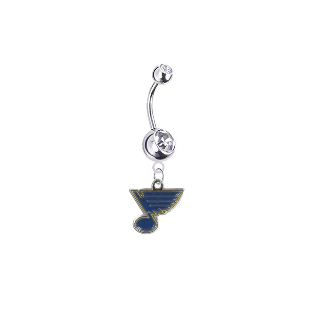 St Louis Blues Silver Clear Swarovski Belly Button Navel Ring - Customize Gem Colors