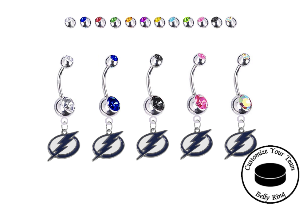 Tampa Bay Lightning Silver Swarovski Belly Button Navel Ring - Customize Gem Colors