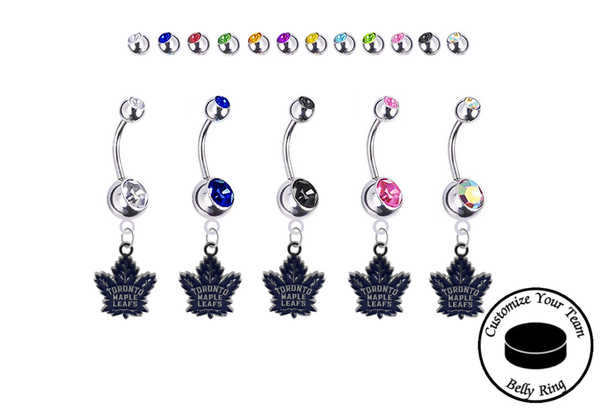 Toronto Maple Leafs Silver Swarovski Belly Button Navel Ring - Customize Gem Colors