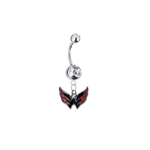 Washington Capitals Silver Clear Swarovski Belly Button Navel Ring - Customize Gem Colors