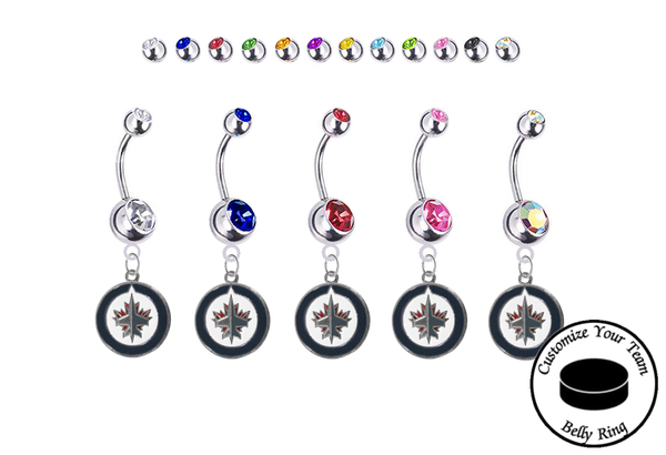 Winniepeg Jets Silver Swarovski Belly Button Navel Ring - Customize Gem Colors