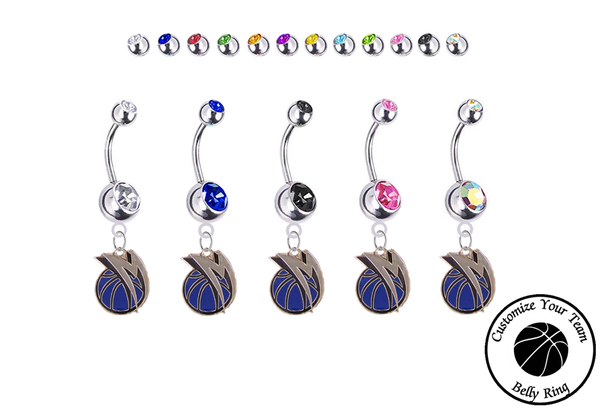 Dallas Mavericks Style 2 Silver Swarovski Belly Button Navel Ring - Customize Gem Colors