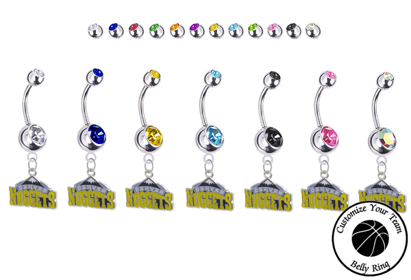 Denver Nuggets Silver Swarovski Belly Button Navel Ring - Customize Gem Colors