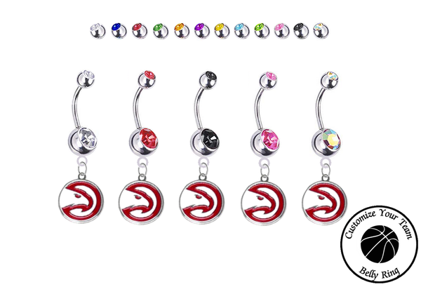 Atlanta Hawks Silver Swarovski Belly Button Navel Ring - Customize Gem Colors