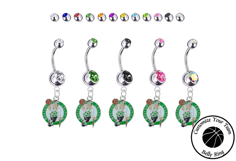 Boston Celtics Silver Swarovski Belly Button Navel Ring - Customize Gem Colors