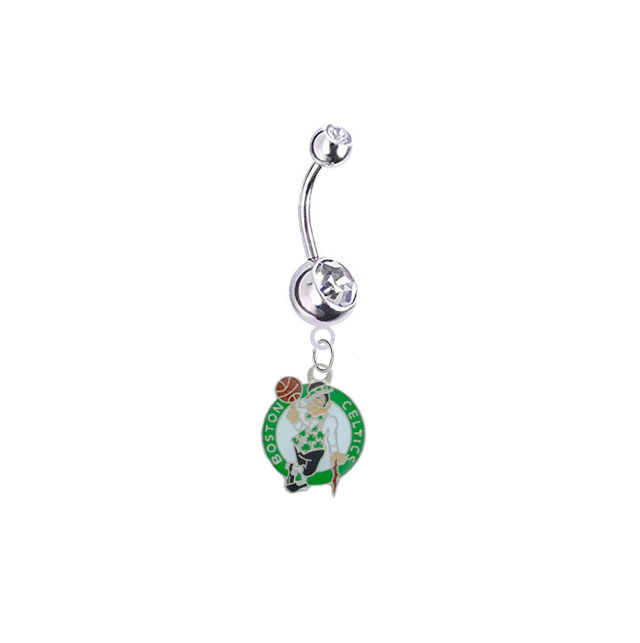 Boston Celtics Silver Clear Swarovski Belly Button Navel Ring - Customize Gem Colors