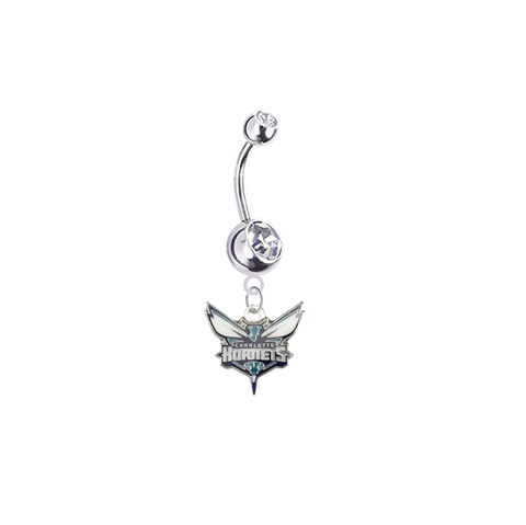 Charlotte Hornets Silver Clear Swarovski Belly Button Navel Ring - Customize Gem Colors