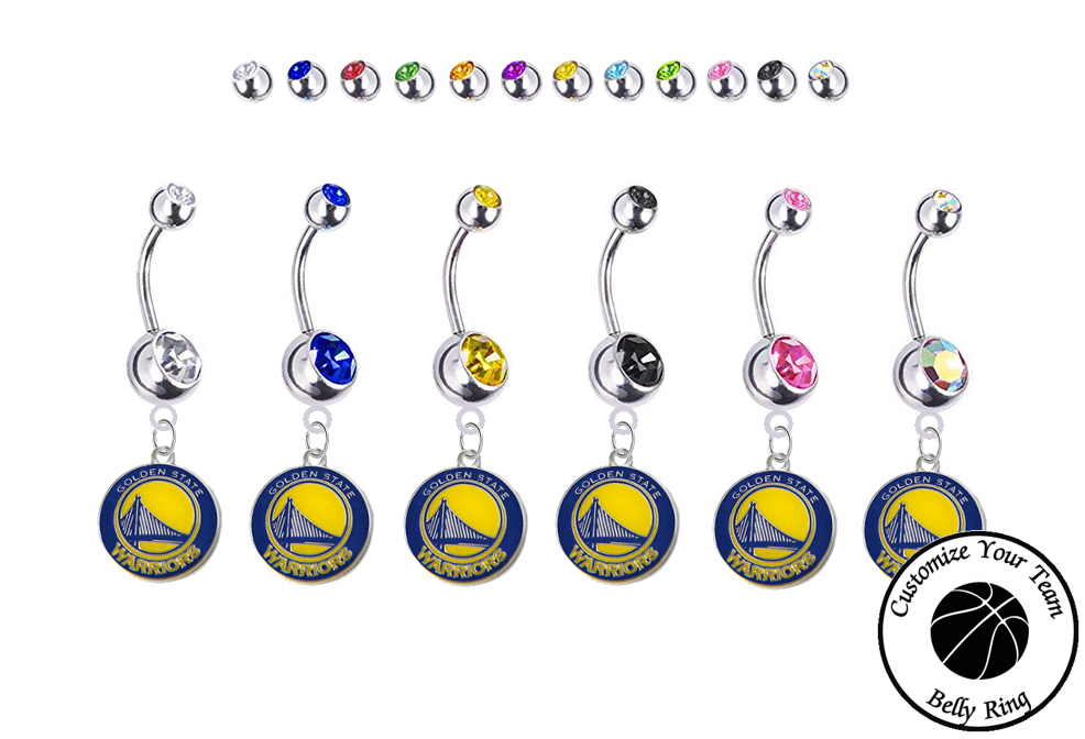 Golden State Warriors Silver Swarovski Belly Button Navel Ring - Customize Gem Colors