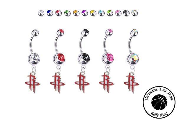 Houston Rockets Silver Swarovski Belly Button Navel Ring - Customize Gem Colors